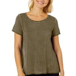 CG Sport Womens Solid Short Sleeve Round Neck Top