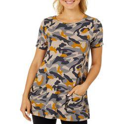 CG Sport Womens Camo Roll Cuff Short Sleeve Top