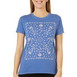 Lucky Brand Womens Framed Bandana T-Shirt