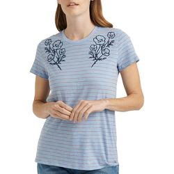 Lucky Brand Womens Striped Embroidered Short Sleeve Top