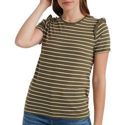 Lucky Brand Womens Striped Ruffle Detail Short Sleeve Top