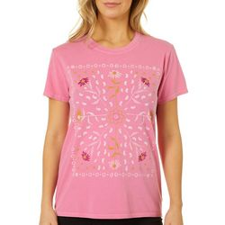 Lucky Brand Womens Floral Paisley Screen Print Crew Neck Top