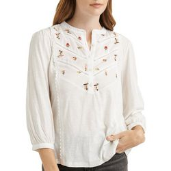 Lucky Brand Womens Solid Floral Embellished Top