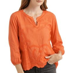 Lucky Brand Womens Solid Eyelet Trim Split Neckline Top