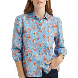 Lucky Brand Womens Floral Print Button Down Top