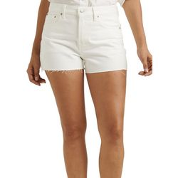 Lucky Brand Womens Solid Relaxed Denim Frayed Hem Shorts