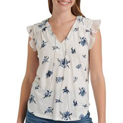 Lucky Brand Womens Floral Ruffle Sleeve Split Neck Top