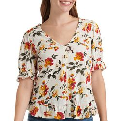 Lucky Brand Womens Floral Ruffle Sleeve V-Neck Top