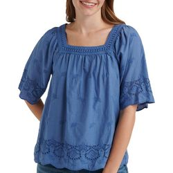 Lucky Brand Womens Solid Eyelet Trim Square Neckline Top