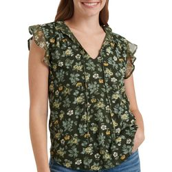 Lucky Brand Womens Feminine Floral Split Neck Top