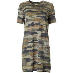 Lucky Brand Womens Camo Short Sleeve T-Shirt Dress