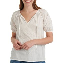 Lucky Brand Womens Solid Eyelet Split Neck Top