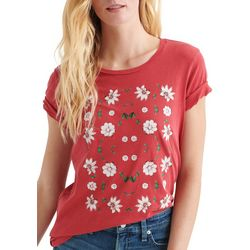 Lucky Brand Womens Framed Floral T-Shirt