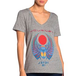 Lucky Brand Womens Journey Scarab Logo V-Neck Top