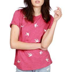 Lucky Brand Womens Screen Print Swallow T-Shirt
