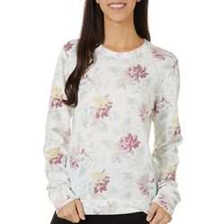 Lucky Brand Womens Floral Print Round Neck Long Sleeve Top