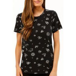 Lucky Brand Womens Zodiac Screen Print Short Sleeve Top