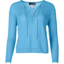 Wildflower Womens Solid Lace-Up Sweater