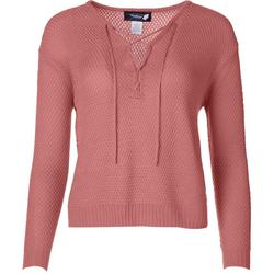 Juniors Solid Lace-Up Sweater
