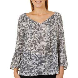 Como Blu Womens Zebra Print Bell Sleeve Top
