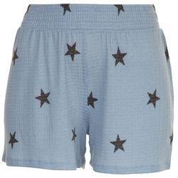 Como Vintage Womens Black Stars Waffle Textured Shorts