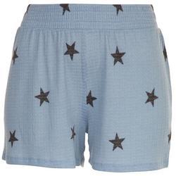 Womens Black Stars Waffle Textured Shorts