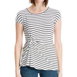 Max Studio Womens Striped Twist Front Short Sleeve Top