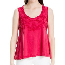 Max Studio Womens Solid Embellished Sleeveless Top
