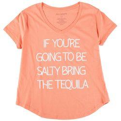 Ana Cabana Womens Quote Printed Short Sleeve T-Shirt