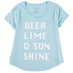 Ana Cabana Womens Beer, Lime and Sunshine Round Neck T-Shirt