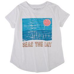 Ana Cabana Womens Seas The Day Quote and  Round Neck T-Shirt