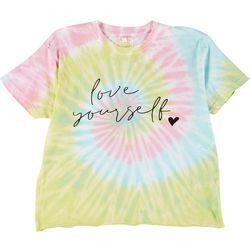Dreamsicle Womens Love Yourself Tie-Dye Graphic Tee