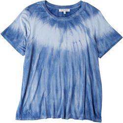 WORKSHOP Womens Denim Tie Dye Short Sleeve T-Shirt