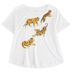 Chelsea & Theodore Womens Tiger Graphic T-shirt