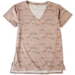 Workshop Womens Pink Camo Chest Pocket V-Neck T-Shirt