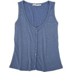 Lush Womens Ribbed Button Sleeveless Top