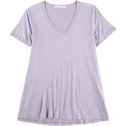 Lush Womens Solid Flowy V-Neck Shirt