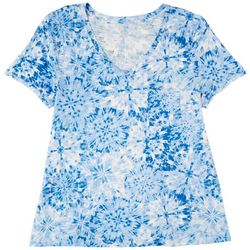 Dept 222 Womens Luxey Tie-Dye Print Short Sleeve Top