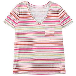 Dept 222 Womens Luxey Multicolored Stripes Short Sleeve Top