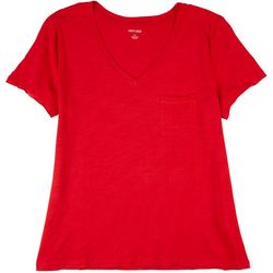 Dept 222 Womens Solid Luxey Short Sleeve Top