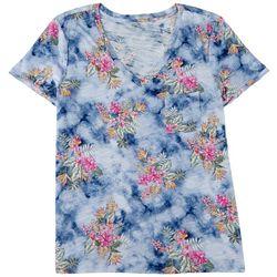 Dept 222 Womens Luxey Tropical Print Short Sleeve Top