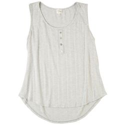 Ava James Womens Striped Henly Sleevless Top