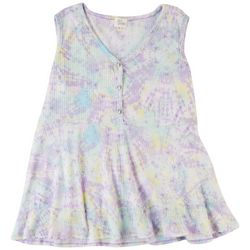 Ava James Womens Tie-Dye Baby Doll Sleeveless Top