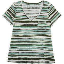 Dept 222 Womens Multi Striped V-Neck Pocketed T-Shirt