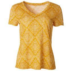 Dept 222 Womens Striped V-Neck T Shirt
