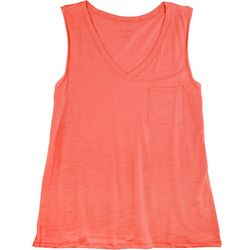 Dept 222 Womens Solid V-Neck Luxey Sleeveless Top