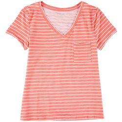 Dept 222 Womens Single Chest Pocket Striped T-Shirt