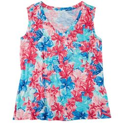 Dept 222 Womens Flowery Pocketed Tank Top