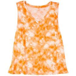 Dept 222 Womens Tie-Dye V-Neck Luxey Sleeveless Top