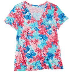 Dept 222 Womens Floral Printed V-Neck Short Sleeve Top